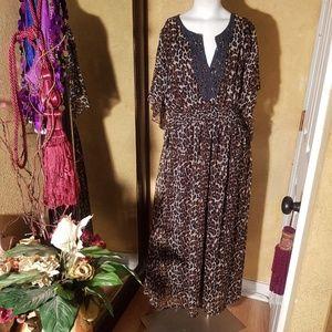 Fun & Flirt leopard long women dress size XL